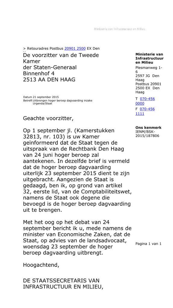 brief aan rechter schrijven Klimaatzaak   Urgenda